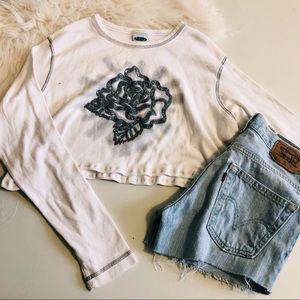90s White Crop Long Sleeve Rose T-shirt